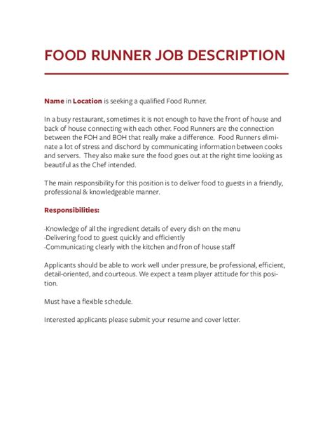 Food Runner Resume by Food Runner Description For Resume Resume Ideas
