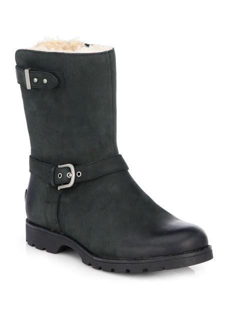 ugg boots for black ugg grandle leather motorcycle boots in black lyst
