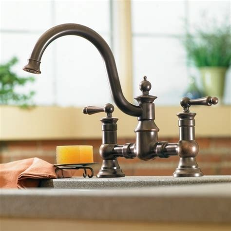 moen waterhill kitchen faucet moen waterhill rubbed bronze two handle high arc