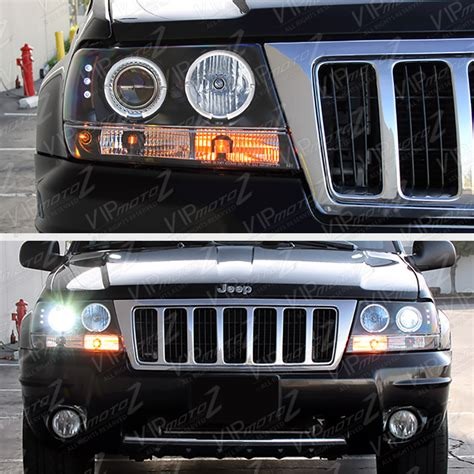 jeep black headlights the brightest ccfl halo ring 1999 2004 jeep grand