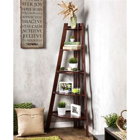 black corner ladder bookcase furniture of america kiki 5 tier corner ladder display