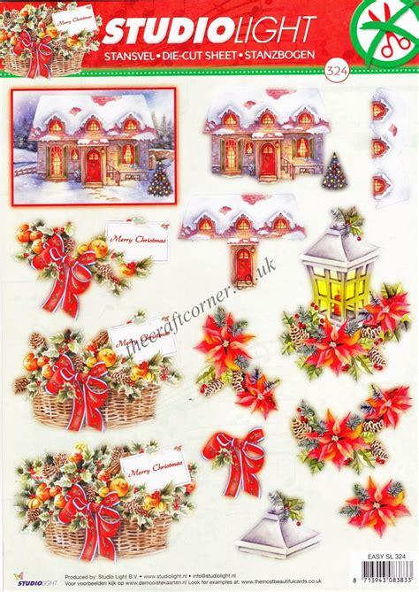 christmas snow scene flowers die cut  decoupage sheet