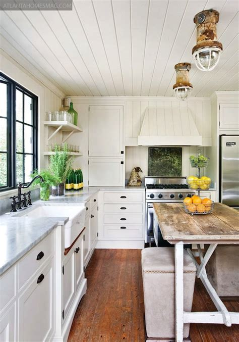 Farmhouse Kitchen Island Lighting Lovely Kitchen With White Wood Paneled Walls And Ceiling White Kitchen Cabinets With White