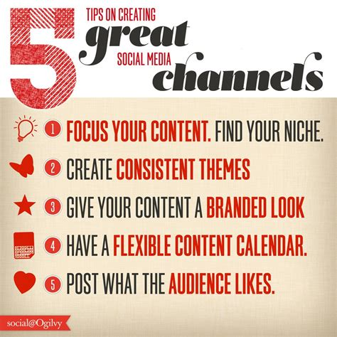 5 Posts With The Most Helpful Tips by 5 Tips On Creating Great Social Media Channels Infographic