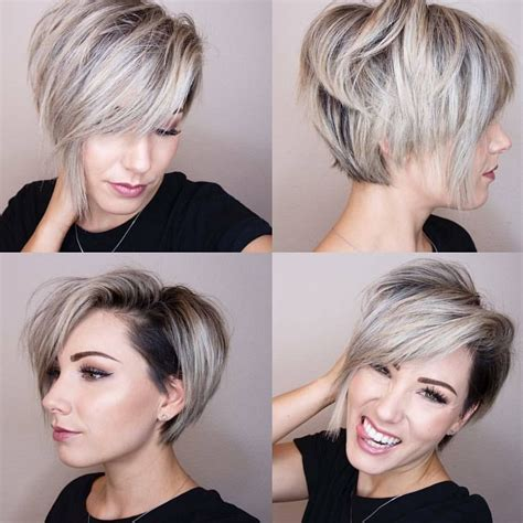 platinum pixi cut with brown highlights 4 111 likes 32 comments balayage boston blogger