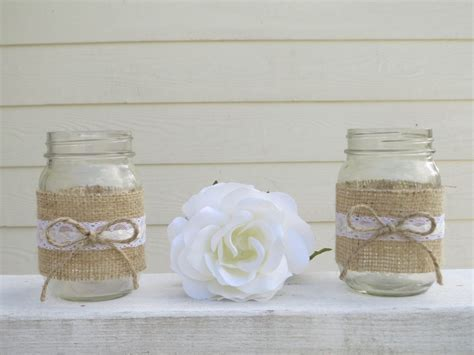 western wedding centerpieces in mason jars   Burlap and