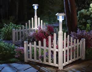 Landscape Edging With Solar Lights White Fence Corner Lawn Edging With Solar Light