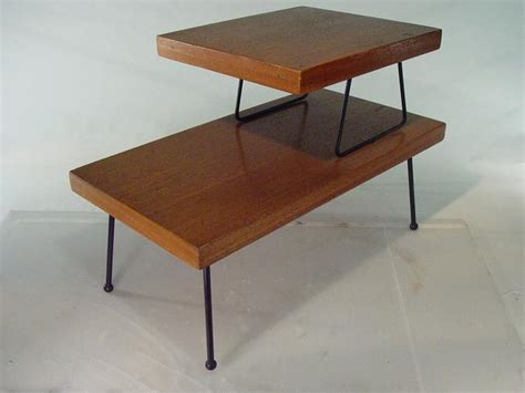 2 tier end table 1950 s mid century 2 tier end table with iron legs