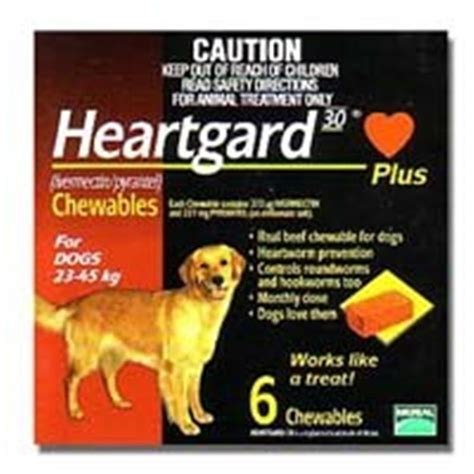 heartgard for dogs buy heartgard 30 plus chewables for dogs 23 45kg brown 6 pack at chemist