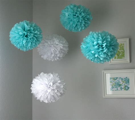 Aqua & White tissue poms   Bid Day at PM   Bridal shower