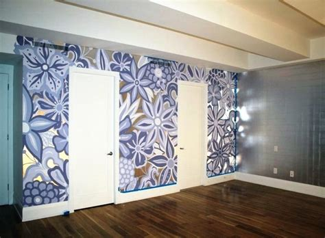 painted wall mural wall featuring painted mural on top of silver leaf gilding bedroom new york by