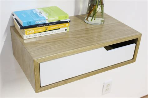 floating nightstand with drawer diy floating nightstands white oak modern