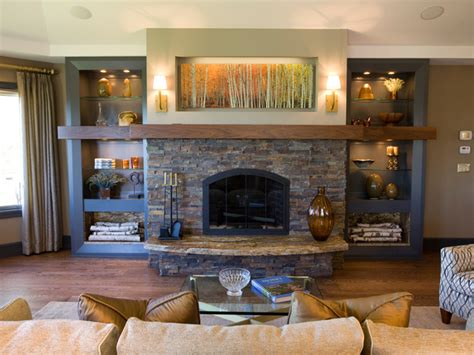 fireplace living room ideas rustic living room with stacked stone fireplace hgtv