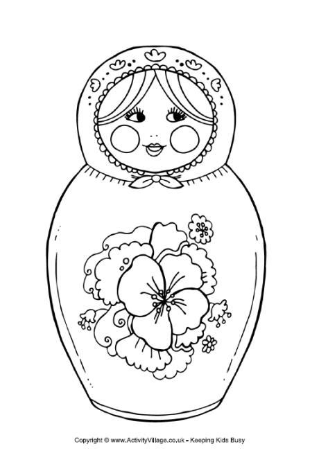 matryoshka doll colouring page 3