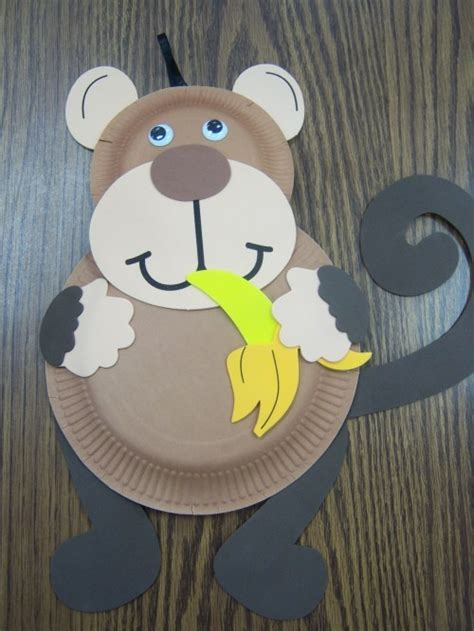 Monkey Paper Plate Craft - paper plate animal crafts crafts and worksheets for