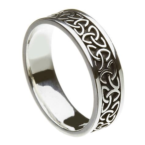 Solid Trinity Knot Silver Band   Celtic Wedding Rings
