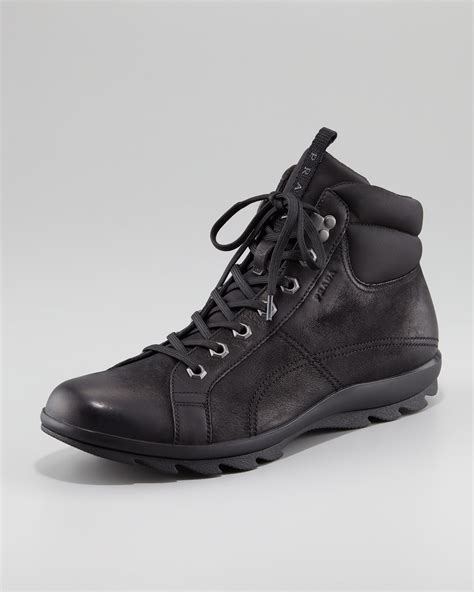 prada nubuck leather hiker boot in black for lyst