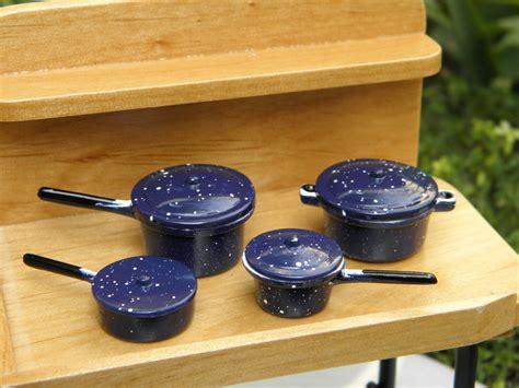 miniature doll houses accessories miniature dollhouse fairy garden accessories blue spatterware pots pans new ebay