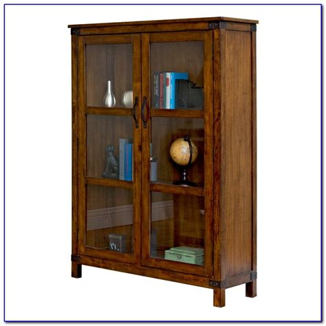 Wood Bookcase With Glass Doors Bookcase Home Wood Bookcase With Glass Doors