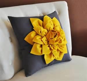 decorative flower pillow mustard yellow dahlia by
