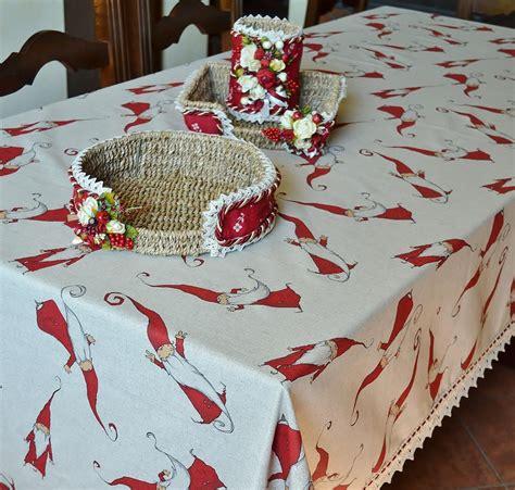 Handmade Tablecloths - handmade wool blend tablecloth gnomes