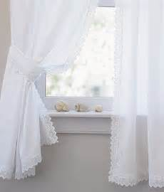 Lace Trim Curtains White Lace Trim Curtains Shell Trio Curtains