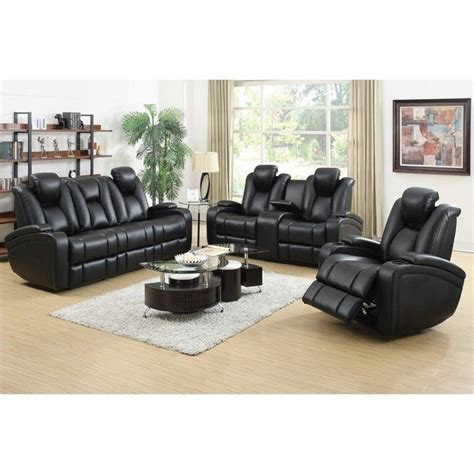 Coaster Delange Faux Leather Power Reclining Sofa Set In Black Leather Recliner Sofa Set