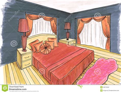 Graphical Sketch Of An Interior Bedroom Stock Photography Image: 29973532