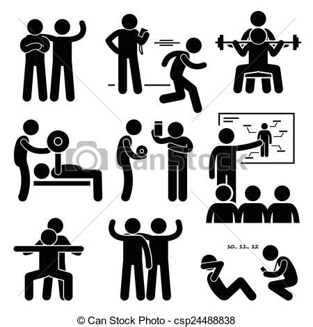 Personal gym coach trainer. A set of human pictogram