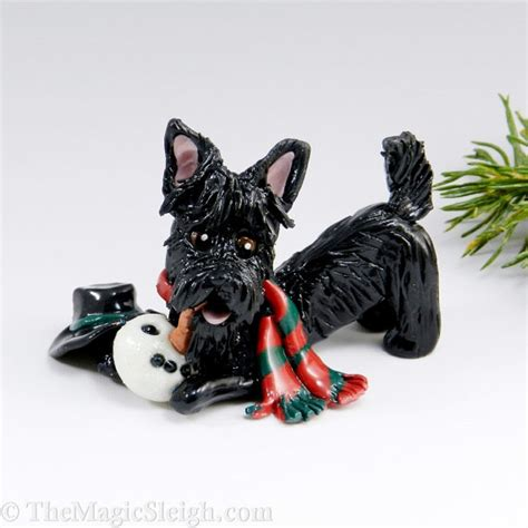 scottish terrier christmas ornament snowman porcelain