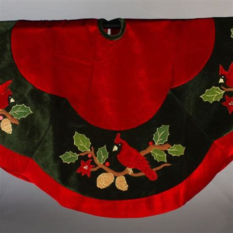 and green tree skirt cardinal and green tree skirt home garden decor