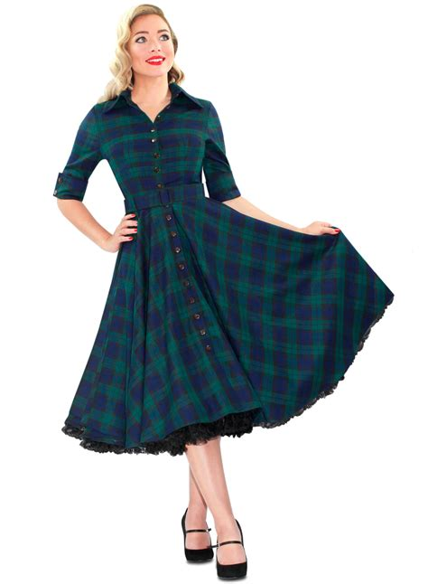 50s swing fashion way out west black tartan 50s style swing dress