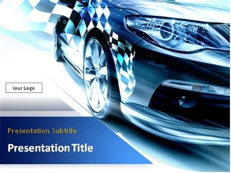 car powerpoint template sport car with checkered flag powerpoint template