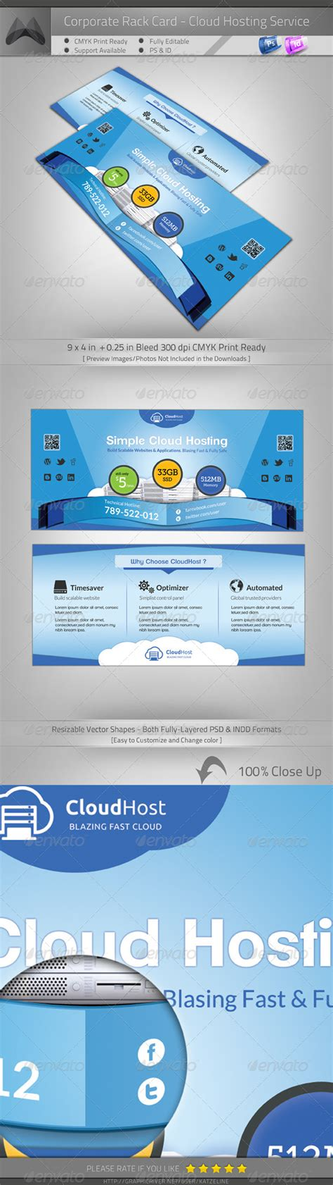 4 x 9 rack card with bleed psd template cloud hosting service rack card flyer template