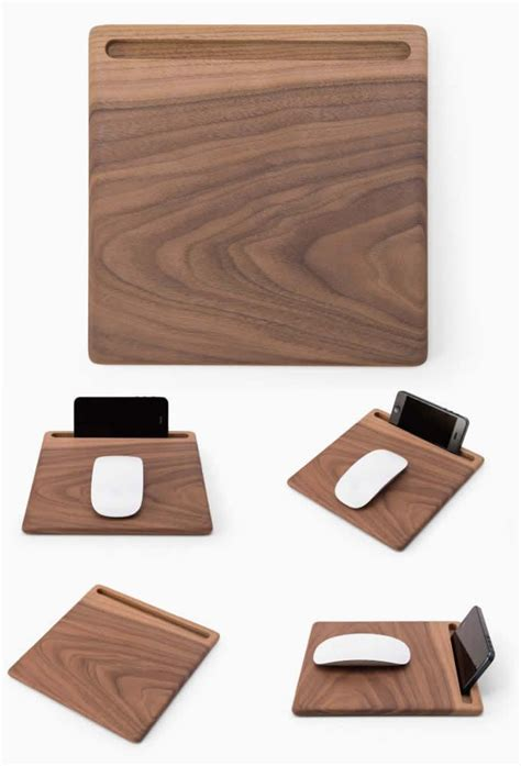 office desk phone holder wooden mouse pad with smart phone stand office gifts