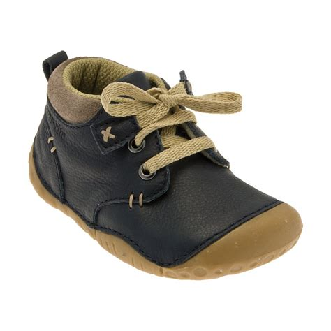 crafted navy leather boys shoe