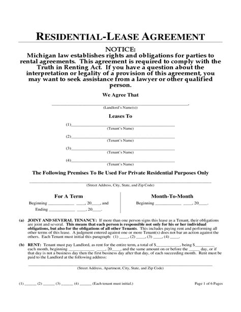 Michigan One Year Residential Lease Agreement Free Download One Year Lease Template