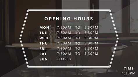 Powerpoint Business Hours Template Presentationpoint Opening Hours Sign Template
