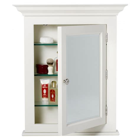bathroom classic white framed medicine cabinet with glass