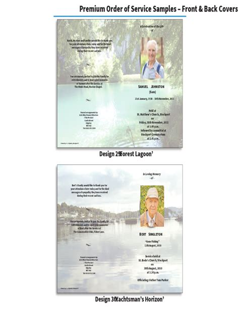 in memoriam template order of service brochure in memoriam cards free
