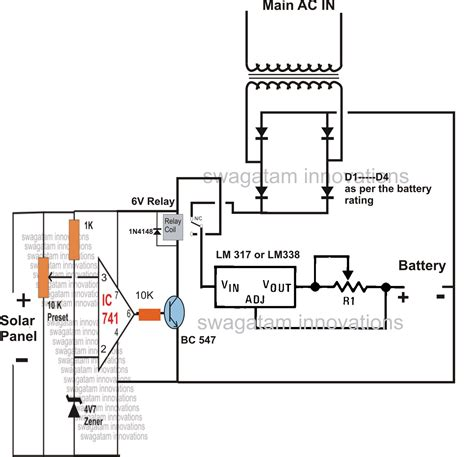solar panel ac mains relay changeover circuit