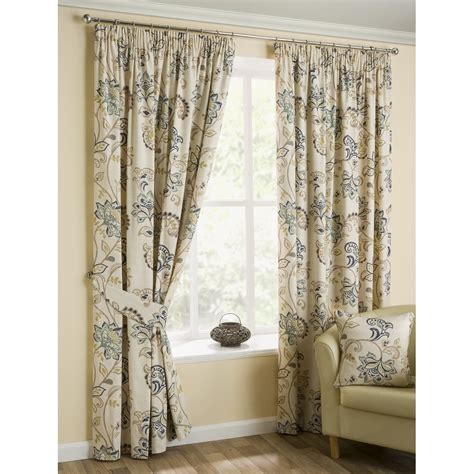 Jacobean Floral Curtains Belfield Furnishings Jacobean Azure Paisley Floral Pencil Pleat Readymade Curtains Belfield