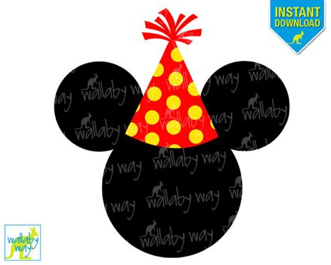mickey party hat birthday printable iron on transfer or use as