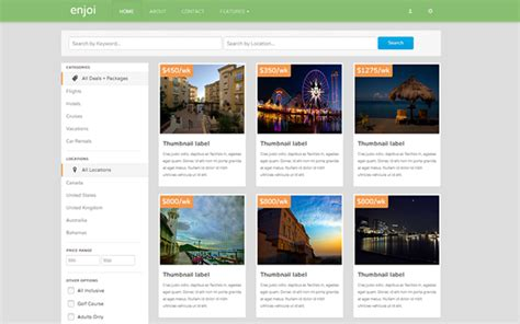 getbootstrap templates enjoi travel deals theme other bootstrap templates