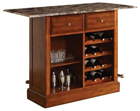Wood Bar Cabinet Cherry Finish Wood Bar Cabinet Stand With Foot Rail And Wine Rack Contemporary Wine And Bar