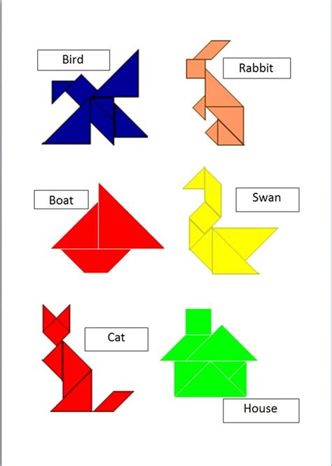 pattern making with different shapes tan grams