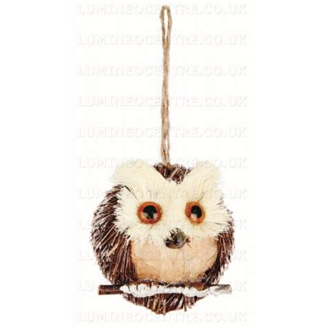 Lu Led Owl premier 7 5cm hanging brown rustic straw owl