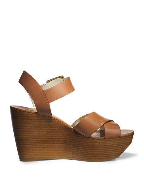 wedge sandal michael michael kors peggy wedge sandal in brown luggage