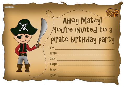 Pirate Birthday Card Template by Birthday Invitations Bagvania Free Printable