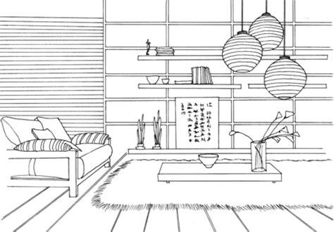 bedroom interior design drawing sketch coloring page